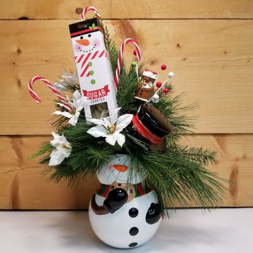 Snowman Treats (SCF18C08) by Savilles Country Florist.  Christmas Flower Arrangements, Centerpieces and Plant delivery to Orchard Park, NY and the surrounding area including same day delivery to Hamburg, West Seneca, East Aurora, Blasdell and Buffalo NY