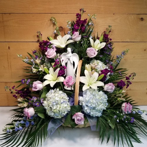 Angelic Farewell Fireside Basket (SCF19SY01) by Savilles Country Florist.  Flower and Plant delivery to Orchard Park, NY and the surrounding area including same day delivery to Hamburg, West Seneca, East Aurora, Blasdell and Buffalo NY
