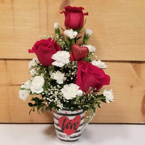 Red Rose Love Mug (SCF19V03) by Savilles Country Florist.  Flower and Plant delivery to Orchard Park, NY  and the surrounding area including same day delivery to Hamburg, West Seneca, East Aurora, Blasdell and  Buffalo NY