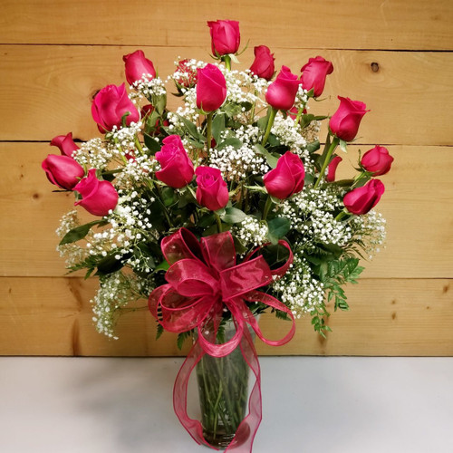 24 Red Roses Vased (SCF8004) by Savilles Country Florist.  Flower and Plant delivery to Orchard Park, NY and the surrounding area including same day delivery to Hamburg, West Seneca, East Aurora, Blasdell and Buffalo NY