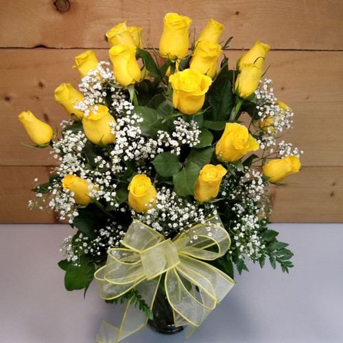 24 Yellow Roses Vased Bouquet (SCF8005) by Savilles Country Florist.  Flower and Plant delivery to Orchard Park, NY and the surrounding area including same day delivery to Hamburg, West Seneca, East Aurora, Blasdell and Buffalo NY