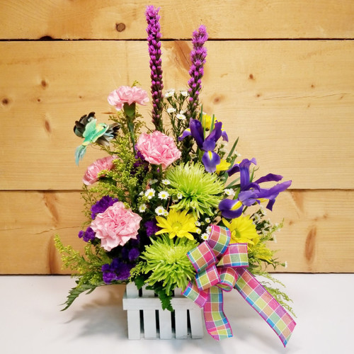 Hummingbird Paradise (SCF19D11) by Savilles Country Florist.  Flower and Plant delivery to Orchard Park, NY and the surrounding area including same day delivery to Hamburg, West Seneca, East Aurora, Blasdell and Buffalo NY