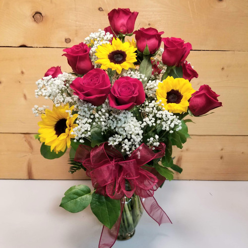 Red Rose & Sunflower Premium Vase (SCF19D57) by Savilles Country Florist.  Flower and Plant delivery to Orchard Park, NY and the surrounding area including same day delivery to Hamburg, West Seneca, East Aurora, Blasdell and Buffalo NY