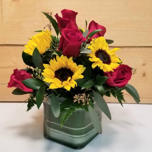 Red Rose & Sunflower Cube (SCF19D59)