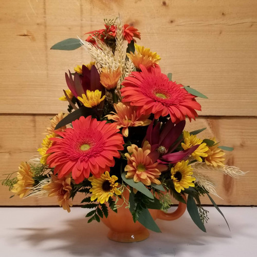 Pumpkin Mug (SCF19F04) by Savilles Country Florist.  Flower and Plant delivery to Orchard Park, NY and the surrounding area including same day delivery to Hamburg, West Seneca, East Aurora, Blasdell and Buffalo NY