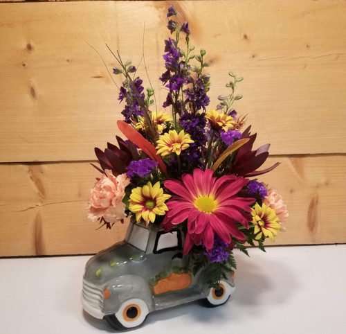Give Thanks Truck (SCF19F05) by Savilles Country Florist.  Flower and Plant delivery to Orchard Park, NY and the surrounding area including same day delivery to Hamburg, West Seneca, East Aurora, Blasdell and Buffalo NY