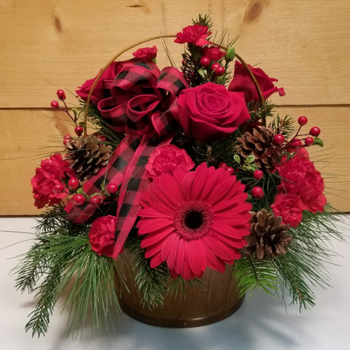 Buffalo Plaid Christmas (SCF19C03) by Savilles Country Florist.  Christmas Flower Arrangements, Centerpieces and Plant delivery to Orchard Park, NY and the surrounding area including same day delivery to Hamburg, West Seneca, East Aurora, Blasdell and Buffalo NY