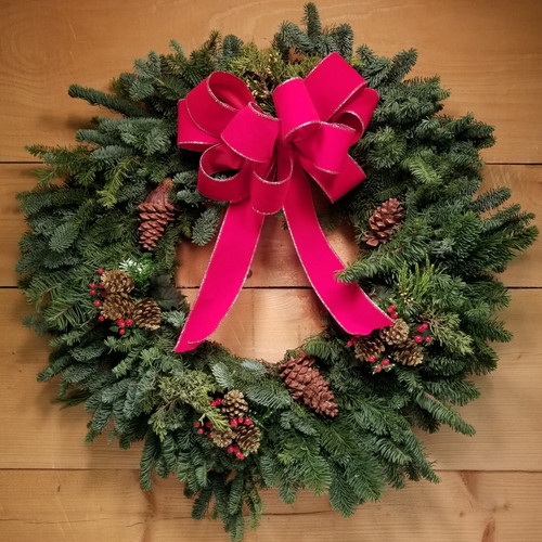 Wreath - Red Velvet (SCF19C11) by Savilles Country Florist.  Christmas Flower Arrangements, Centerpieces and Plant delivery to Orchard Park, NY and the surrounding area including same day delivery to Hamburg, West Seneca, East Aurora, Blasdell and Buffalo NY