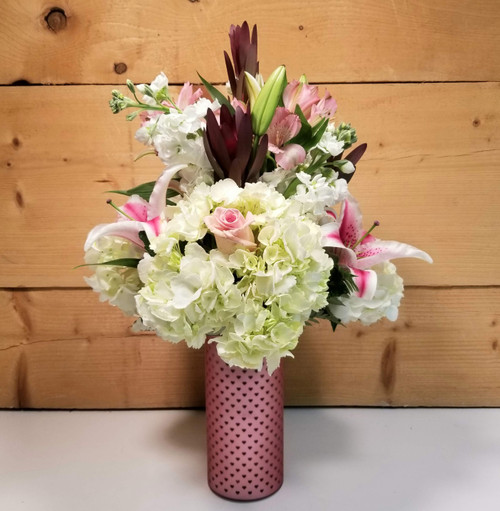 Deep Affection Vase Bouquet (SCF20D08) by Savilles Country Florist.  Flower and Plant delivery to Orchard Park, NY and the surrounding area including same day delivery to Hamburg, West Seneca, East Aurora, Blasdell and Buffalo NY
