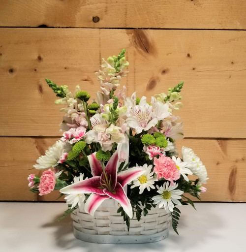 Tender Touch Basket (SCF20D18) by Savilles Country Florist.  Flower and Plant delivery to Orchard Park, NY and the surrounding area including same day delivery to Hamburg, West Seneca, East Aurora, Blasdell and Buffalo NY