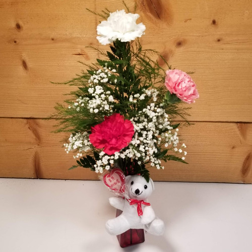 Carnation Bear Bud Vase (SCF20V03) by Savilles Country Florist.  Flower and Plant delivery to Orchard Park, NY and the surrounding area including same day delivery to Hamburg, West Seneca, East Aurora, Blasdell and Buffalo NY