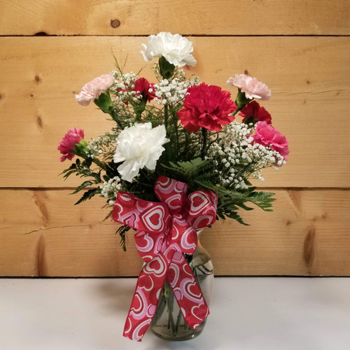 Carnation Vase Arrangement (SCF20D20) by Savilles Country Florist.  Flower and Plant delivery to Orchard Park, NY and the surrounding area including same day delivery to Hamburg, West Seneca, East Aurora, Blasdell and Buffalo NY