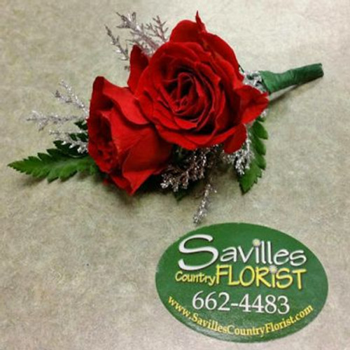 Boutonniere 2 red sh roses with silver twig