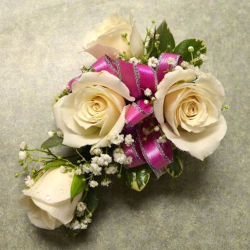 Corsage with 4 White Sweetheart Roses