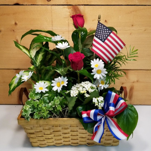 Patriotic Memorial Garden by Savilles Country Florist. Flower delivery to Orchard Park, Hamburg, West Seneca, East Aurora, Buffalo, NY and surrounding suburbs