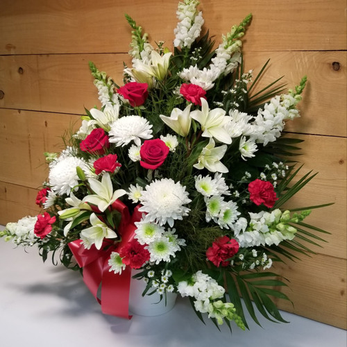 Heartfelt Sympathies Red & White Arrangement by Savilles Country Florist. Flower delivery to Orchard Park, Hamburg, West Seneca, East Aurora, Buffalo, NY and surrounding suburbs.
