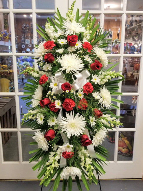 Red & White Sympathy Standing Spray by Savilles Country Florist. Flower delivery to Orchard Park, Hamburg, West Seneca, East Aurora, Buffalo, NY and surrounding suburbs.