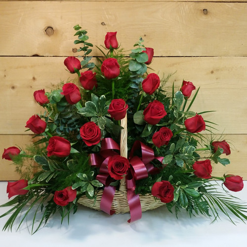 Red Rose Fireside Basket by Savilles Country Florist. Flower delivery to Orchard Park, Hamburg, West Seneca, East Aurora, Buffalo, NY and surrounding suburbs.