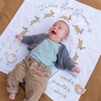 Bunny Rabbit Baby Milestone Blanket