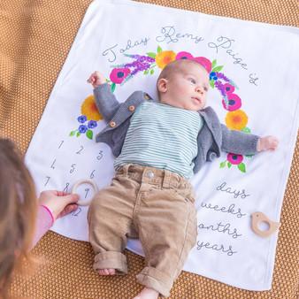 Floral Baby Milestone Blanket