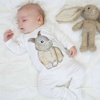 Baby Bunny Watercolour Sleepsuit