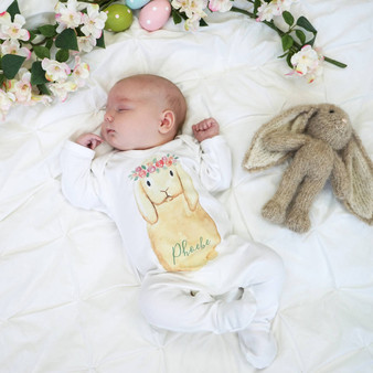 Flower Crown Bunny Baby Sleepsuit