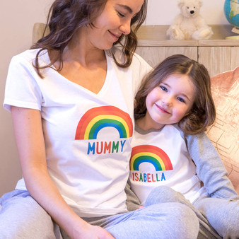 colourful matching pyjamas for mum and child with personalised names