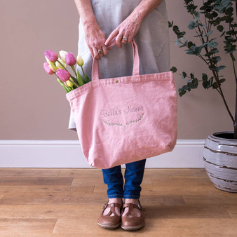 Botanical Embroidered Cotton Tote Bag
