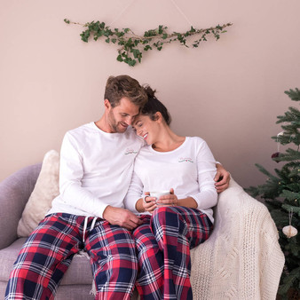Embroidered Christmas Couples Pyjama Set