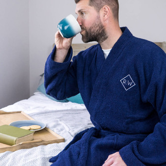 Embroidered Monogram Mens Towelling Bathrobe