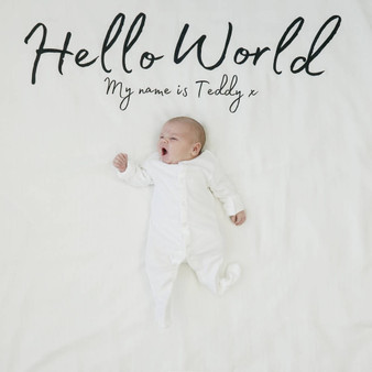 Hello World Baby Announcement Blanket