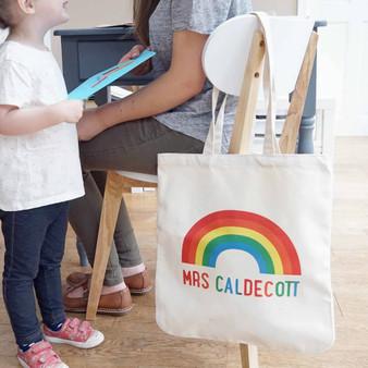 Rainbow Teacher Shopper Bag