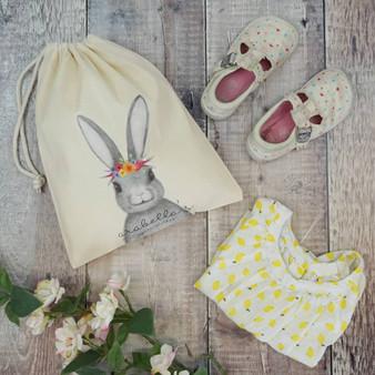 Floral Bunny Spare Clothes Bag