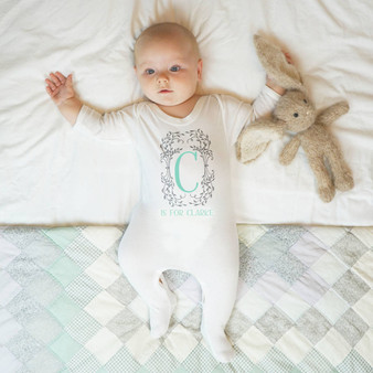 Botanical Monogram Baby Sleepsuit