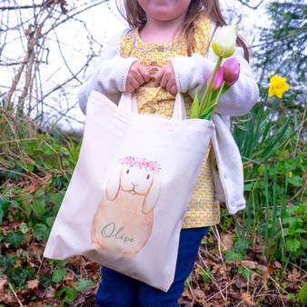 Flower Crown Bunny Easter Hunt Bag