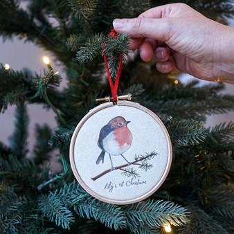 Robin 1st Christmas Tree Hoop Decoration