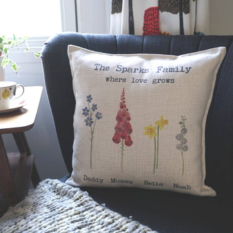 Watercolour Flowers Family Cushion