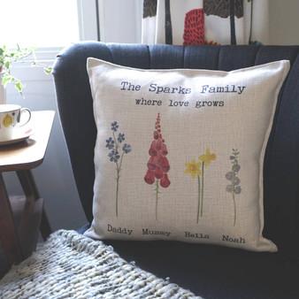 Watercolour Flowers Family Cushion