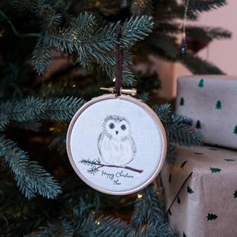 Owl Christmas Tree Hoop Decoration
