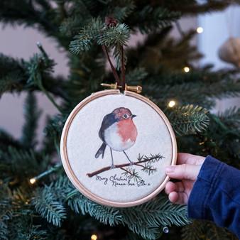 Robin Christmas Hoop Decoration
