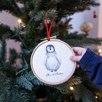 Penguin 1st Christmas Tree Hoop Decoration