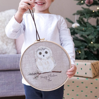 Owl Christmas Hoop Decoration