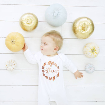 Autumn wreath baby Sleepsuit
