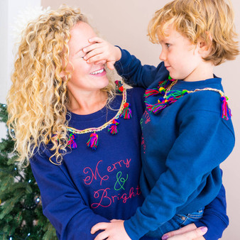 Pom Pom Trim Family Jumpers