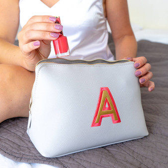 Embroidered Initial Makeup Bag