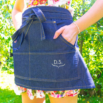 Embroidered Botanical Monogram Denim Apron