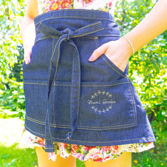 Embroidered Wreath Denim Apron