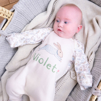 Personalised Organic Illustrated Bunny Baby Sleepsuit