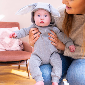 Organic Fluffy Tail Bunny Rabbit Baby Onesie