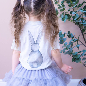 Organic Bunny Back Watercolour Children's Easter Tshirt